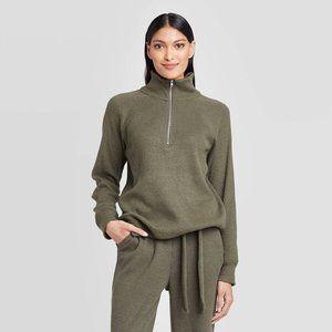 Who What Wear Turtleneck Cozy Half Zip Sweatshirt